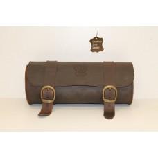 Fork Bag Leather Brown Roll Barrel