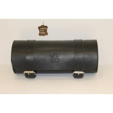 Fork Bag Leather Black Roll Barrel